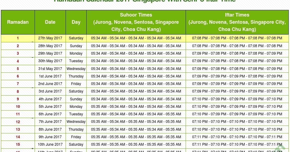 When Is Ramadan 2017 In Singapore With Ramadan Schedule 2017