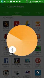 tampilan aplikasi xender sebagai klien