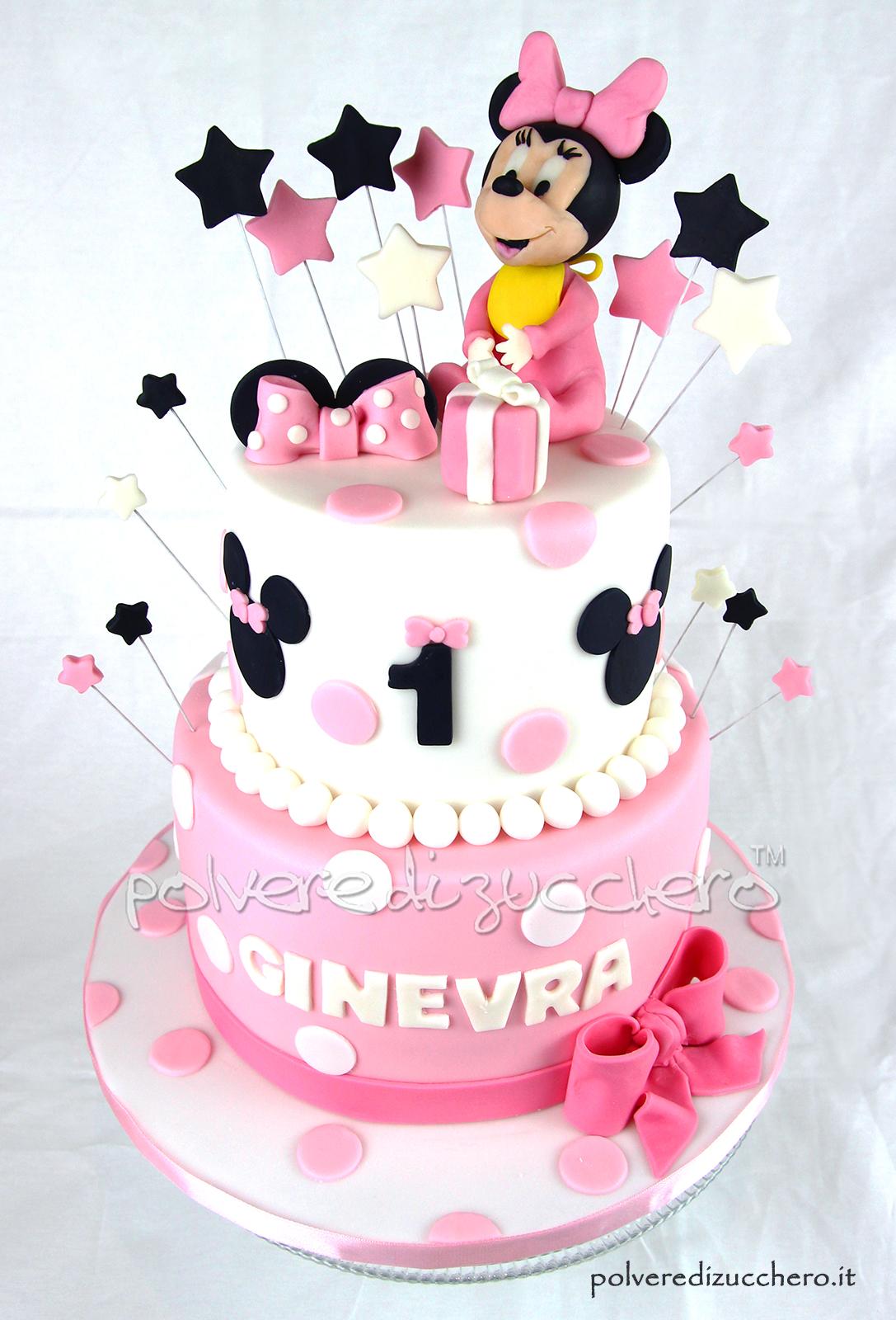 torta decorata a due piani per il 1° compleanno di una bimba con baby minnie in pasta di zucchero