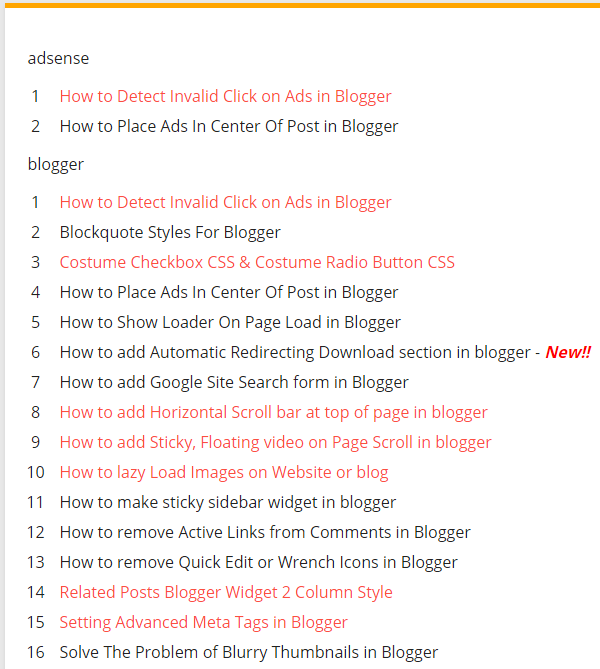 Full sitemap showing blogger widgets 2 Styles