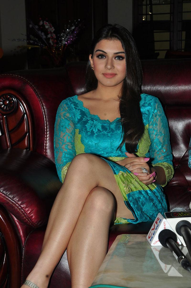 Fair and lovely Hansika motwani looking hot in blue short dress long legs