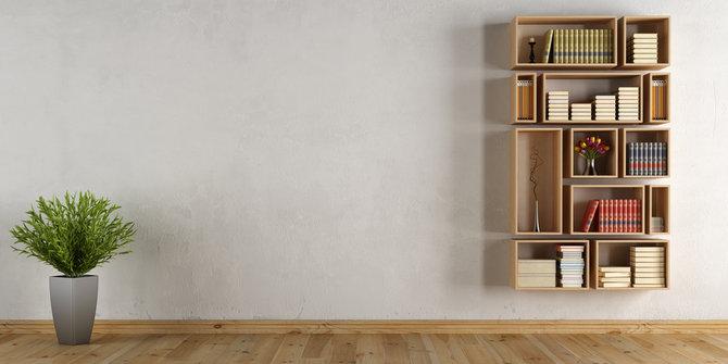 Hidupkan Konsep Minimalis dengan Rak Buku yang Melekat pada Dinding