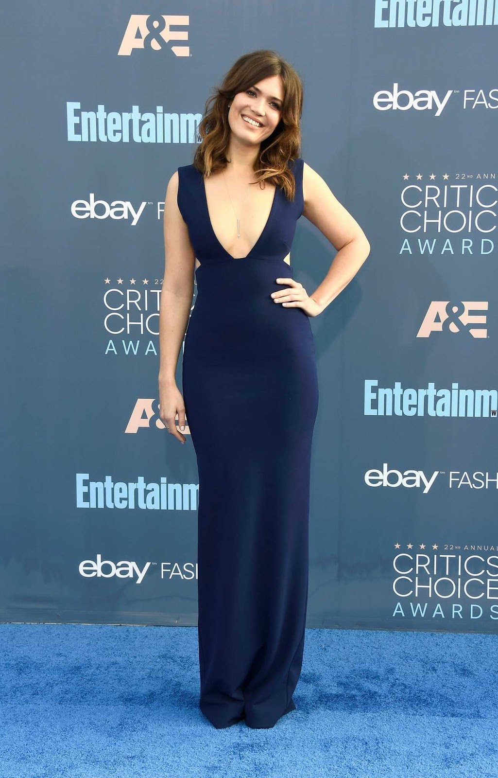 Mandy Moore wears a plunging blue dress to the 22nd Annual Critics' Choice Awards