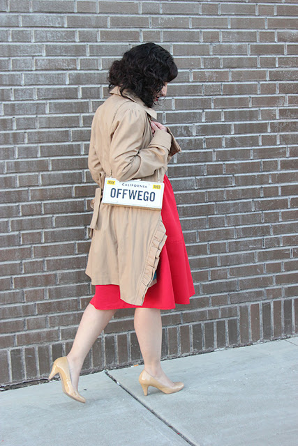 Anthropologie Trench Coat and Red Express Midi Skirt Work Outfit