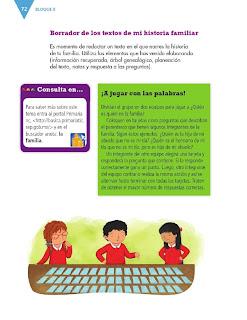 Apoyo Primaria Formación Español 3ro. Grado Bloque II Lección 6 Practica social del lenguaje 6, Investigar sobre la historia familiar para compartirla