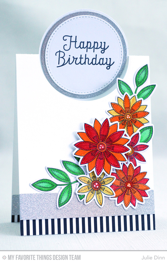 Handmade card from Julie Dinn featuring the Rainbow Greetings stamp set, Funky Flowers stamp set and Die-namics, Flop Card - Circle, Circle STAX Set 1, Stitched Circle STAX Die-namics #mftstamps