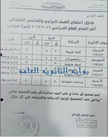 جدول امتحانات الصف الرابع الابتدائي الترم الثاني 2017 محافظة الجيزة