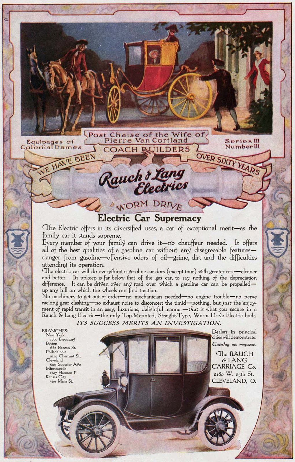 An advertisement for an electric car. 1910.