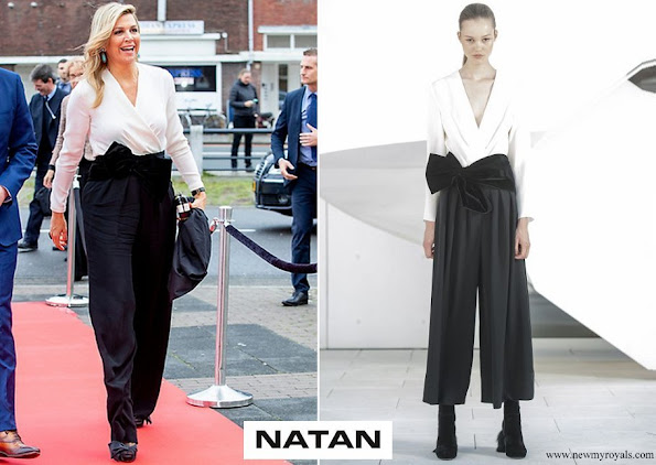 Queen Maxima wore Natan black and white contrasting jumpsuit