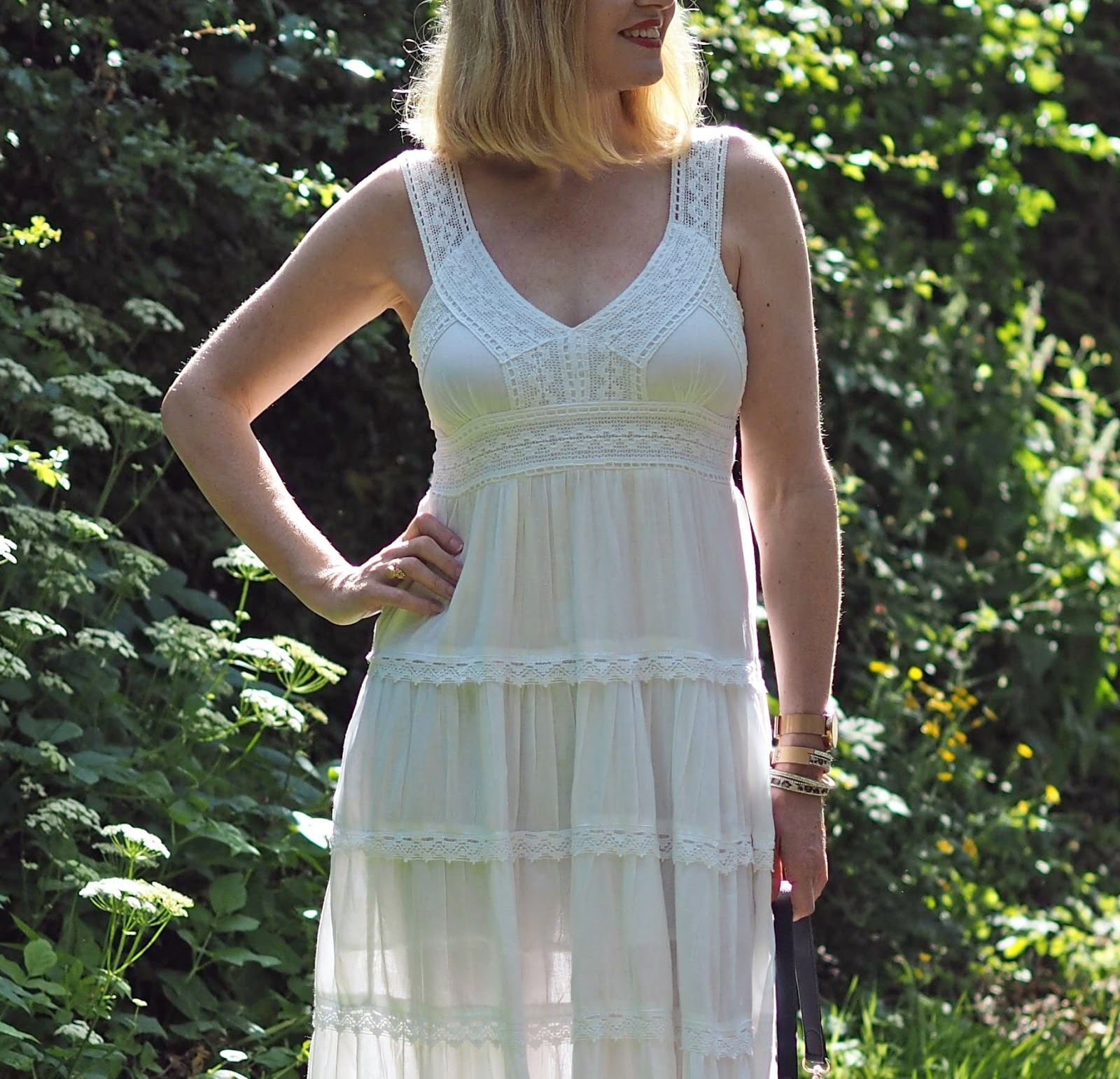 white lace midi dress with espadrilles, Louella Odie fish slouchy pouch