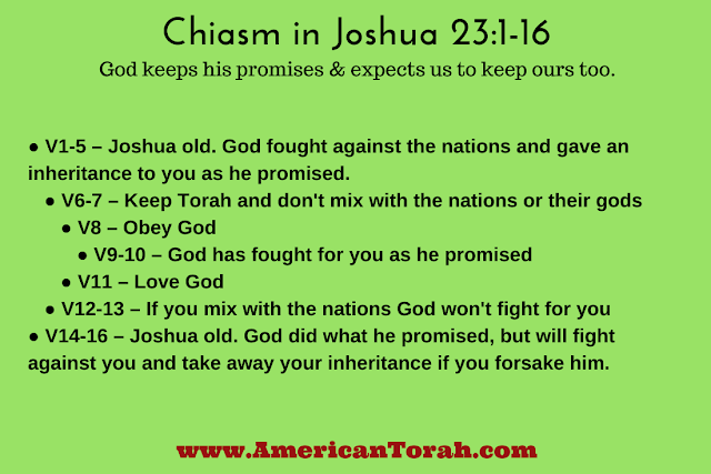 A chiasm in Joshua 23:1-16 illustrates that God keeps his promises and expects us to keep ours too.