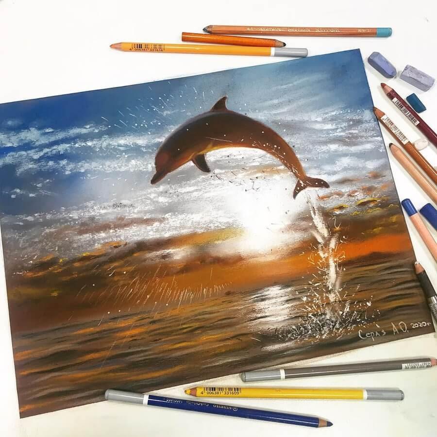 09-Dolphin-Breaching-Cute-Animals-Анастасия-Серая-www-designstack-co