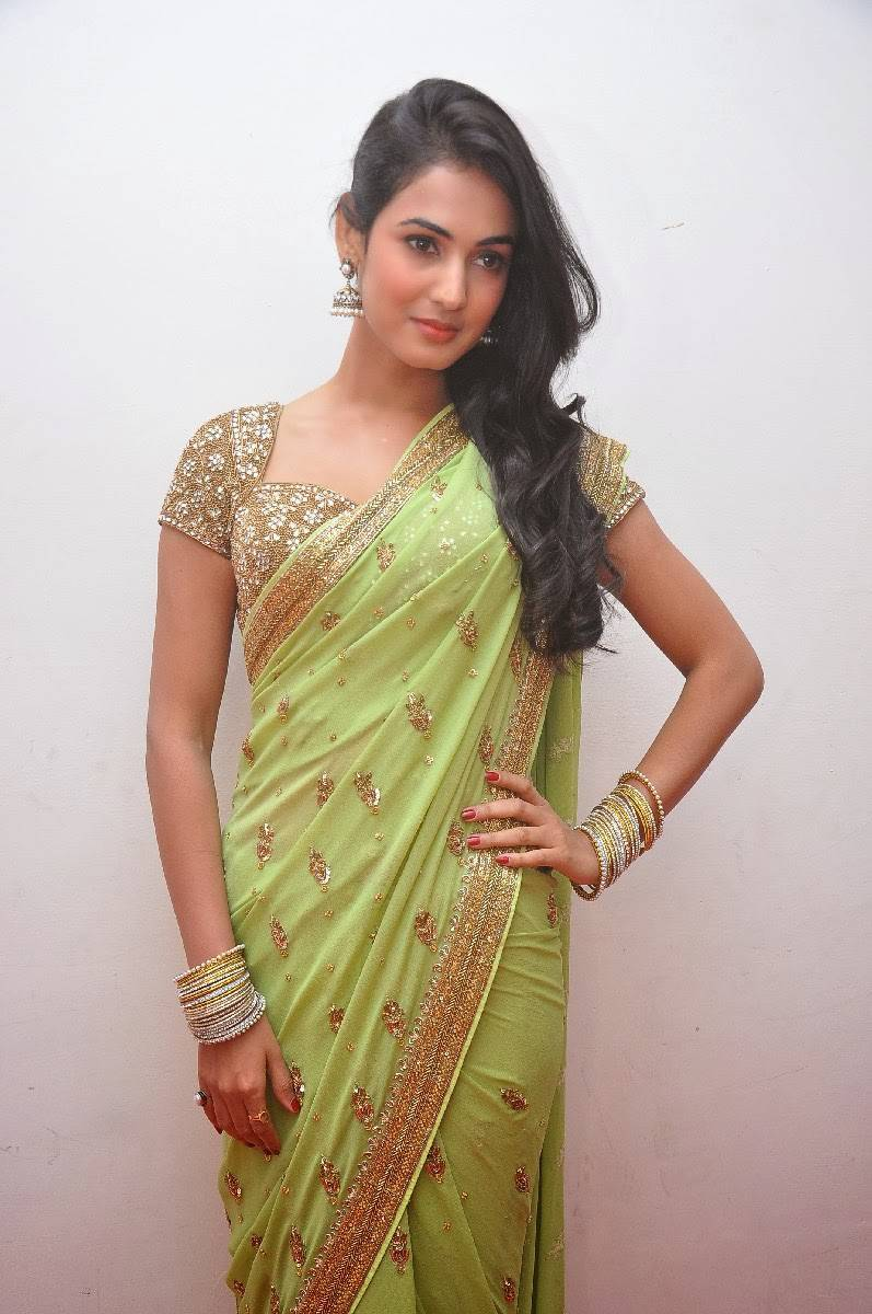 Sonal Chauhan In Green Saree At Movie Audio Launch