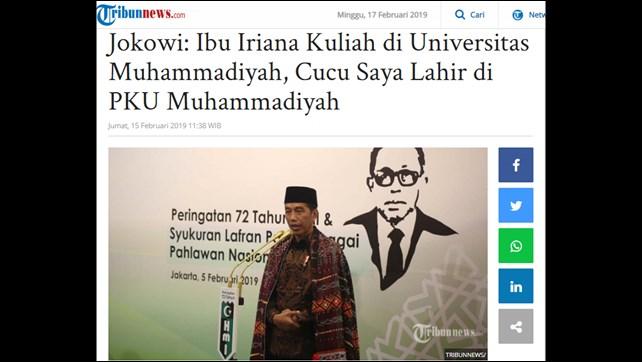 Jokowi Ulas Latar Iriana dan Cucu, Korsa: Pilihan Warga Muhammadiyah Tidak Berubah