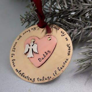 Handstamped Angel in Heaven Memorial Ornament by StampedUnderTheMoon on Etsy