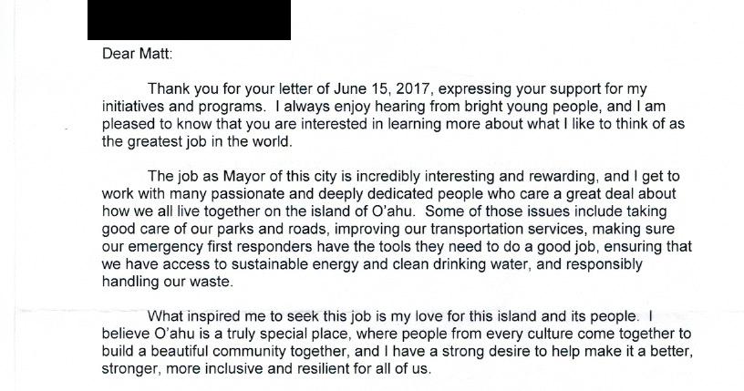 Honolulu letter writing service