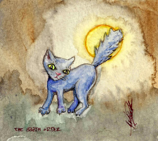 The very small / tiny dark side artwork: The Scared Black Cat watercolour by Elizabeth Casua, tHE 33ZTH oRDER (no frame)