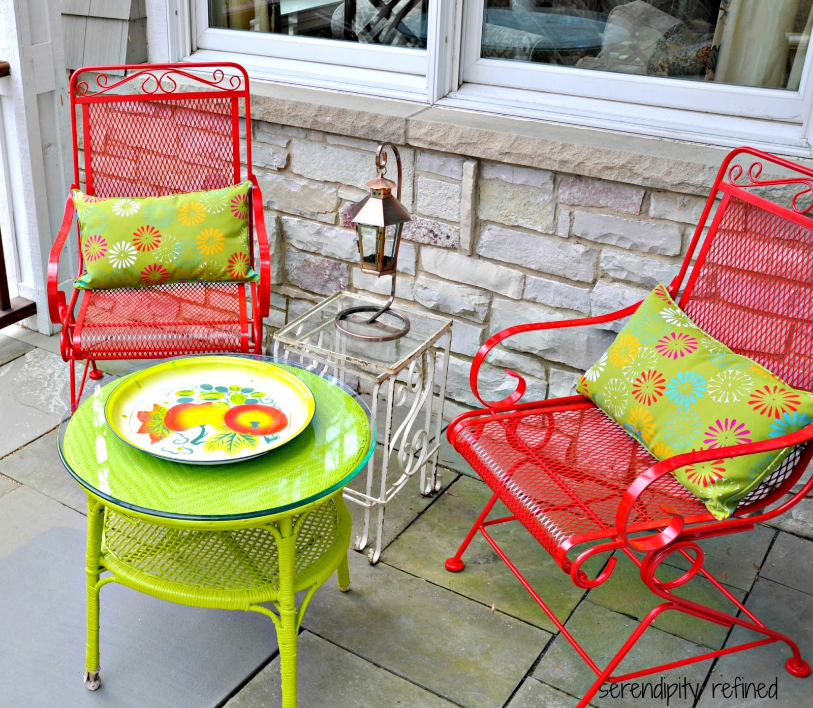 Spray Painted Brightly Colored Wicker And Wrought Iron Patio Furniture Makeover