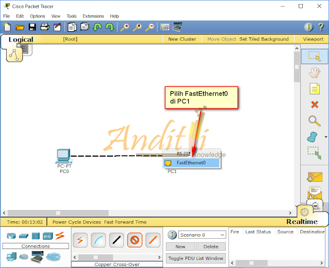 [Tutorial Cisco Packet Tracer 02] Konfigurasi Peer to Peer 2 Komputer-anditii.web.id