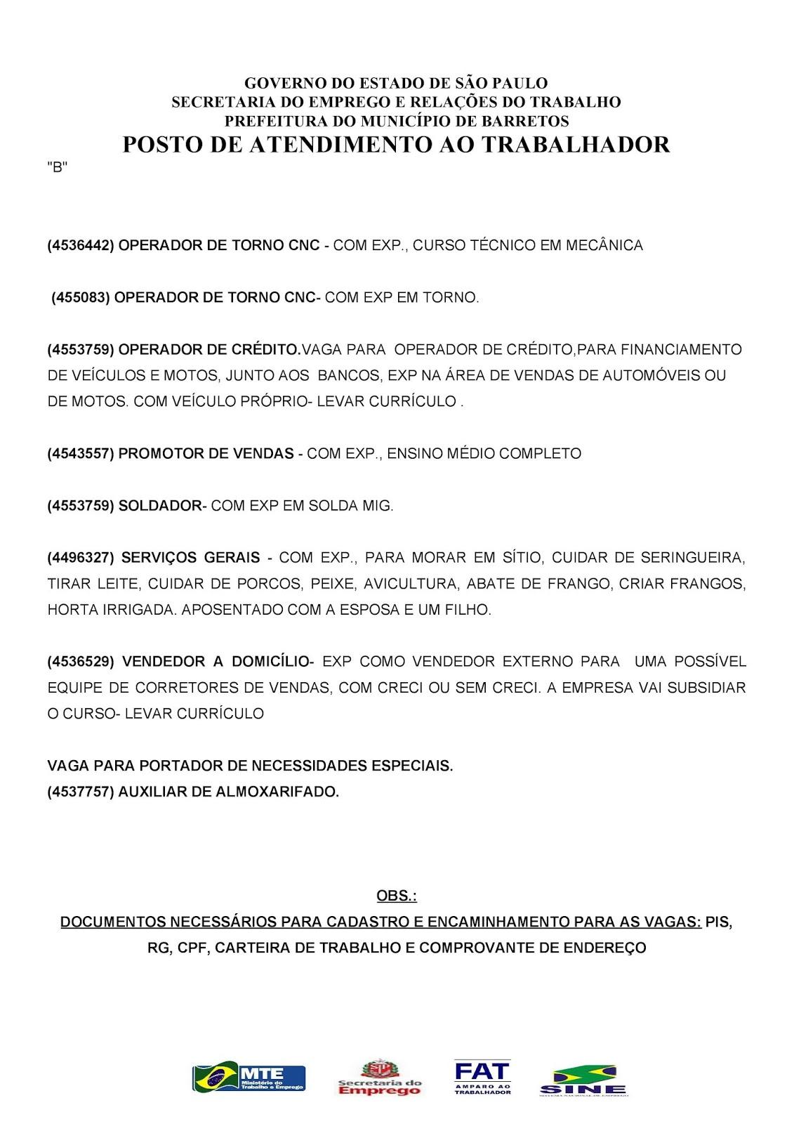 VAGAS DE EMPREGO DO PAT BARRETOS-SP PARA 04/07/2018 QUARTA-FEIRA - PÁG. 2