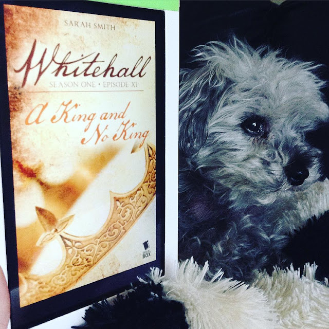 A fuzzy grey poodle, Murchie, lies slightly behind a white Kobo with the cover of Whitehall Episode Eleven on its screen. The cover features a simple crown tilted against a sepia background.
