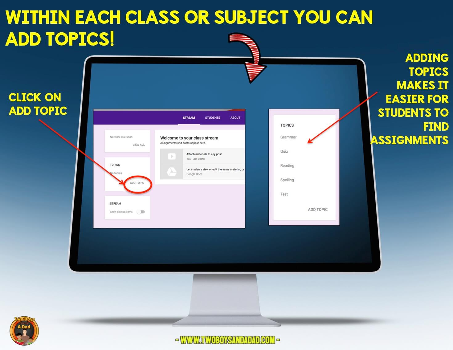 Add topics within each subject in Google Classroom