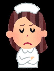 女性看護師の表情のイラスト「悩んだ顔」