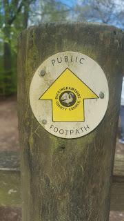 The Public Footpath Buckinghamshire County Council Marker at Wendover Woods