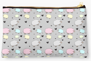 Pastel Polkadot Sheep Illustration Redbubble Pouch