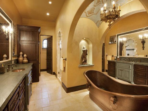 تصاميم حمامات باللون الاصفر