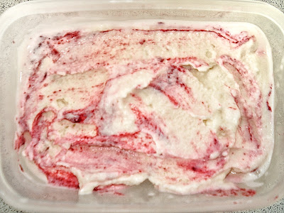 tub of raspberry ripple frozen yogurt