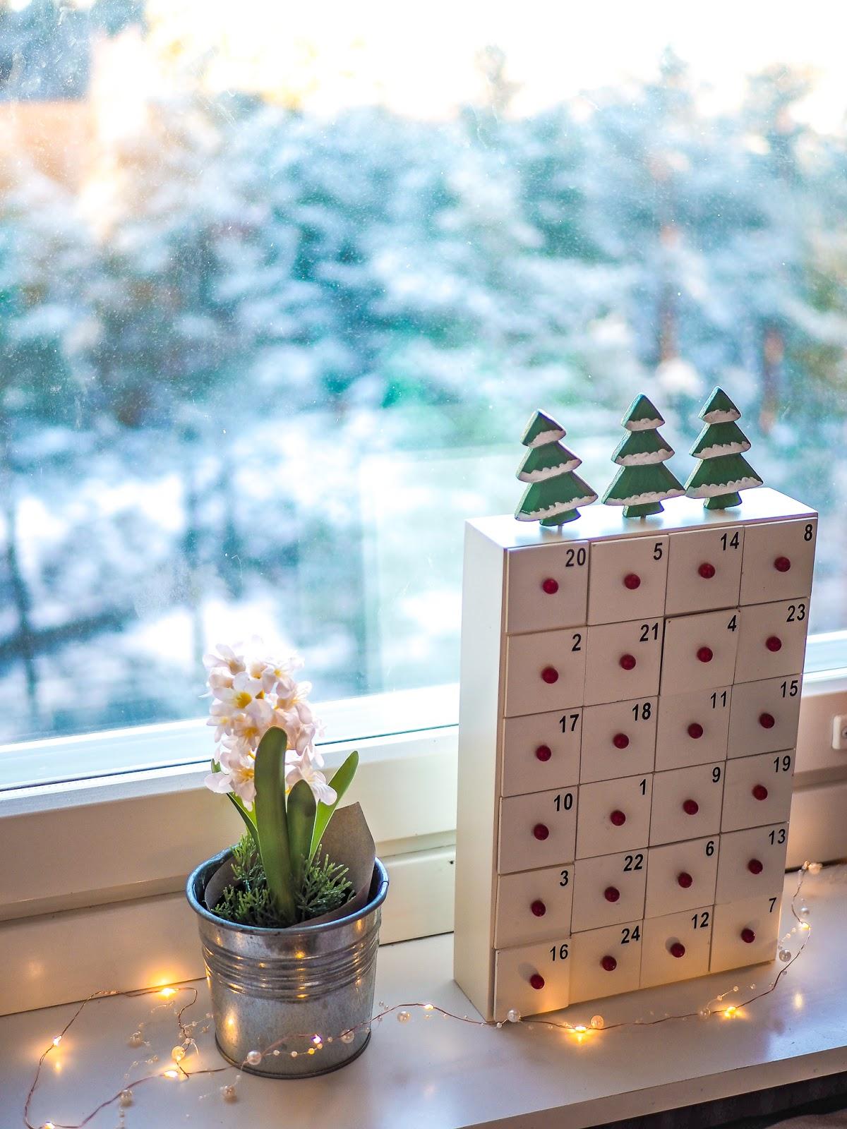 Aineeton joulukalenteri on hyvä vaihtoehto krääsä- ja suklaakalentereille.