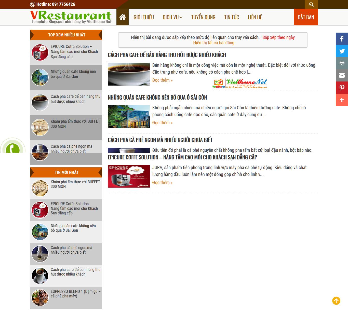 VRestaurant Template Blogspot dành cho nhà hàng sang trọng