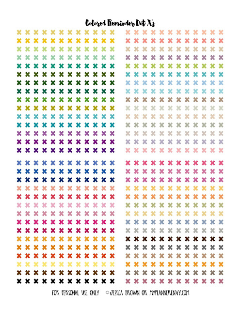 Free Printable Colored Reminder Dot X's from myplannerenvy.com