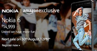 register for amazon india flash sale nokia 6