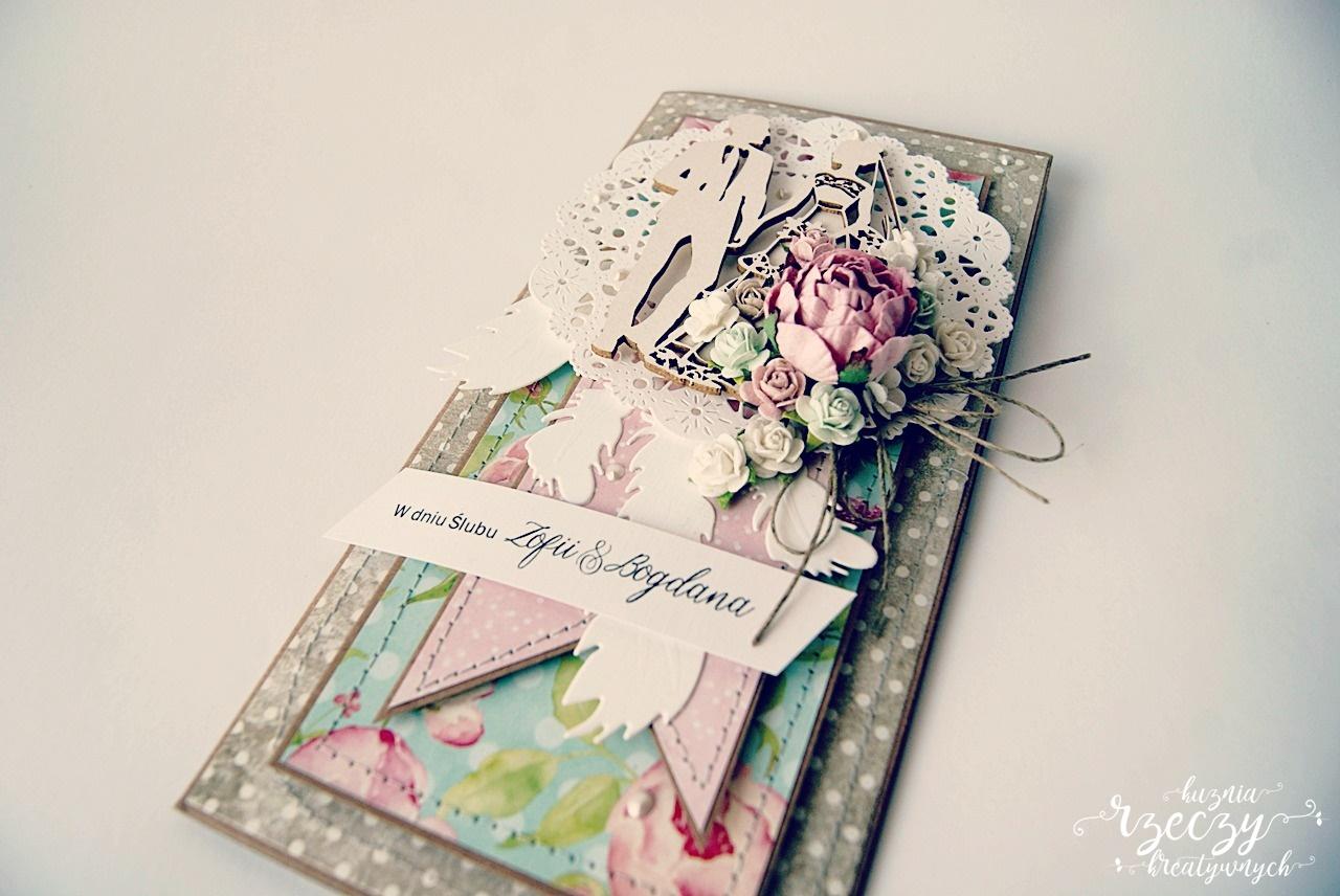 Piękna, wyjątkowa ręcznie wykonana kartka ślubna z łapaczem snów.