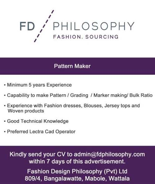 Vacancies For Pattern Makers At Fashion Design Philosophy Pvt Ltd