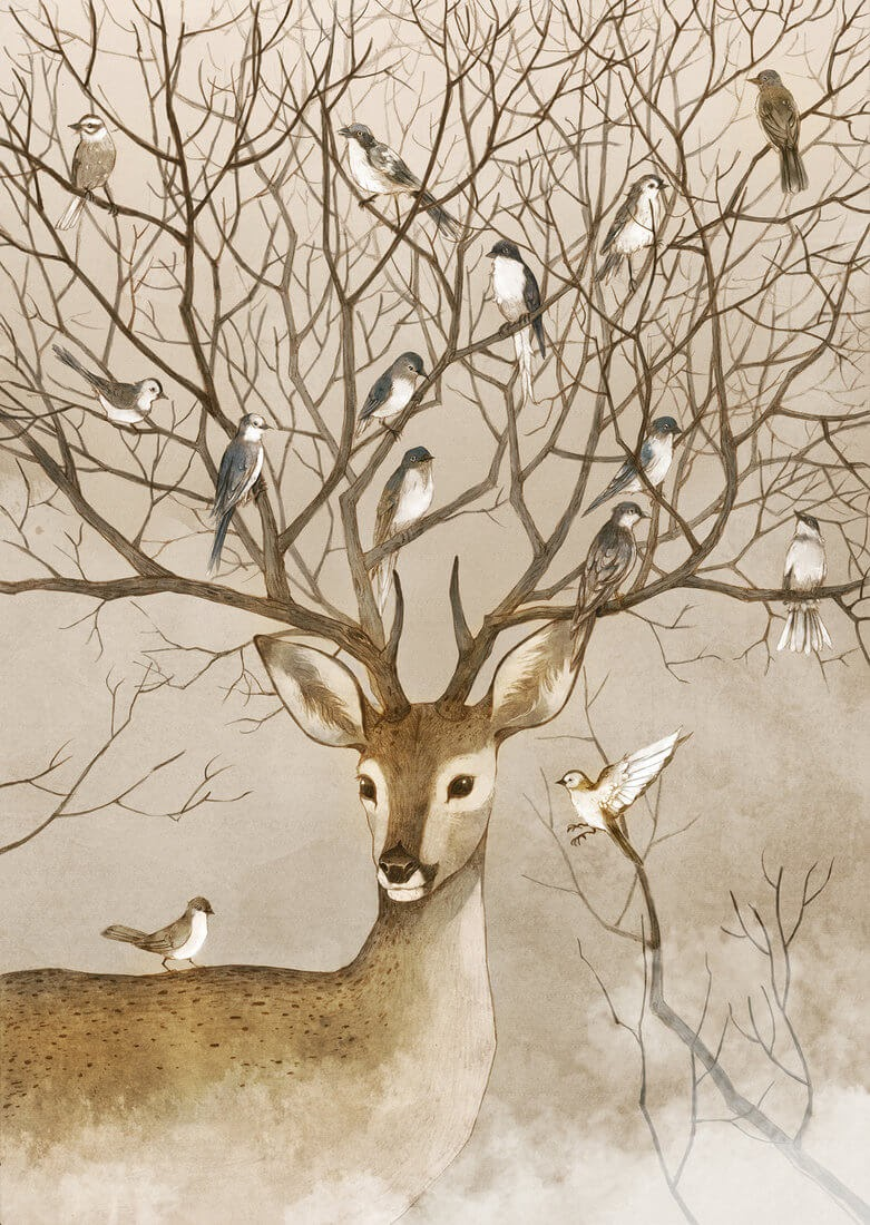 05-The-Deer-Birds-Tree-Xingye-Jin-Surrealism-and-Imaginative-Illustrations-www-designstack-co