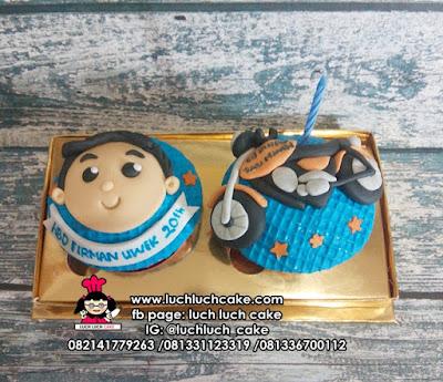 Cupcake Fondant 2D Sepeda Motor