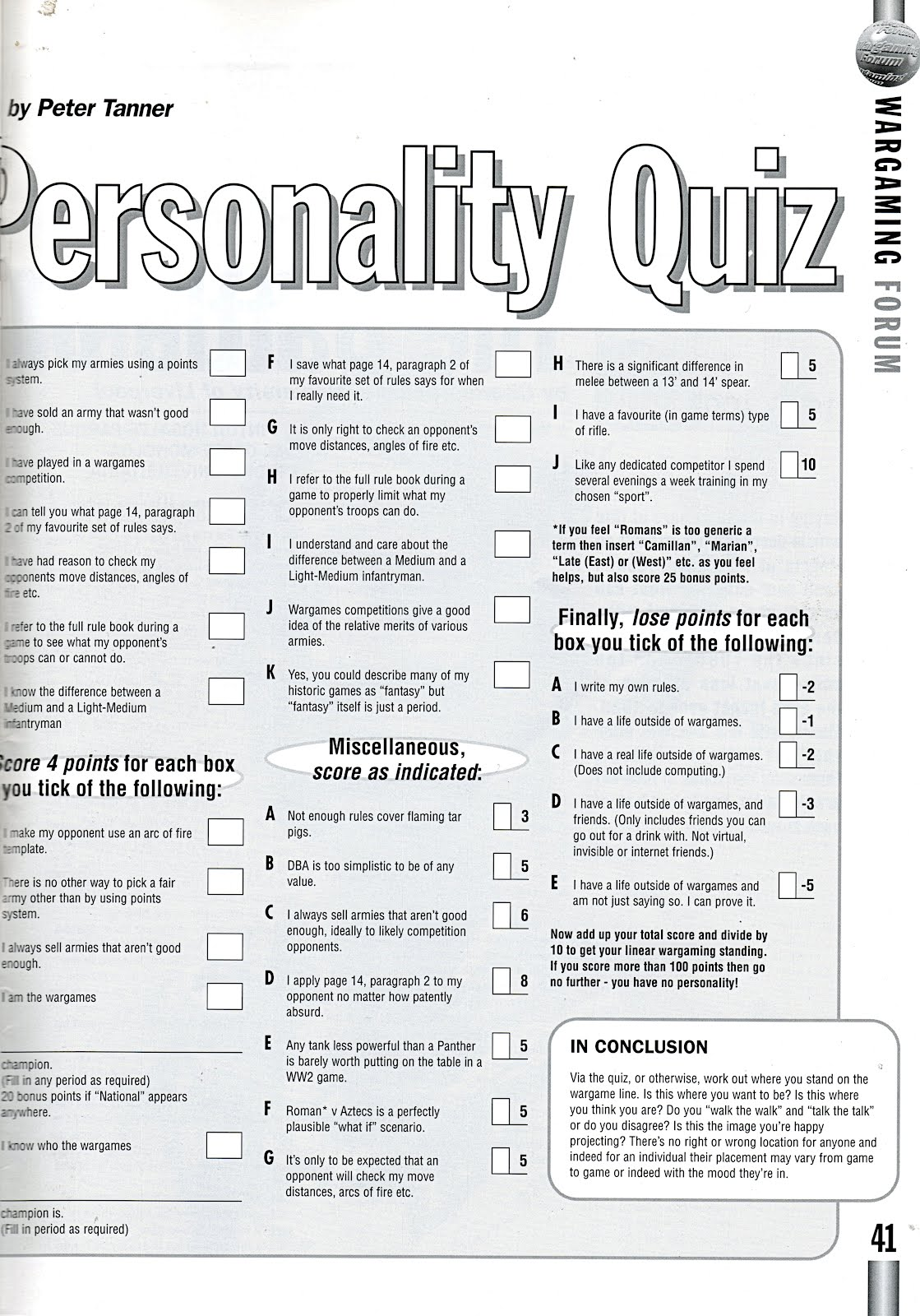 Vintage Wargaming Wargamers Personality Test By Peter