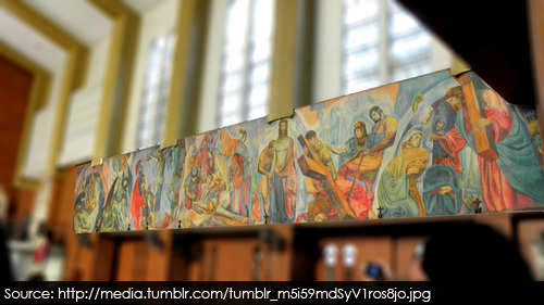 the Stations of the Cross – a painting of Carlos Botong Francisco. Separated into two murals which run along the interior walls of the Far Eastern University chapel, it had resurrected the images of the passion and death of Christ.