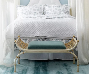 Amanda Nisbet bedroom in turquoise blue and white and furniture sale of items featured