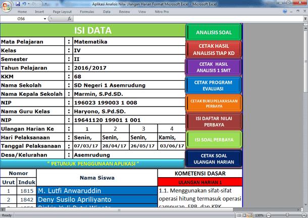 Aplikasi Analisis Nilai Ulangan Harian Format Microsoft Excel