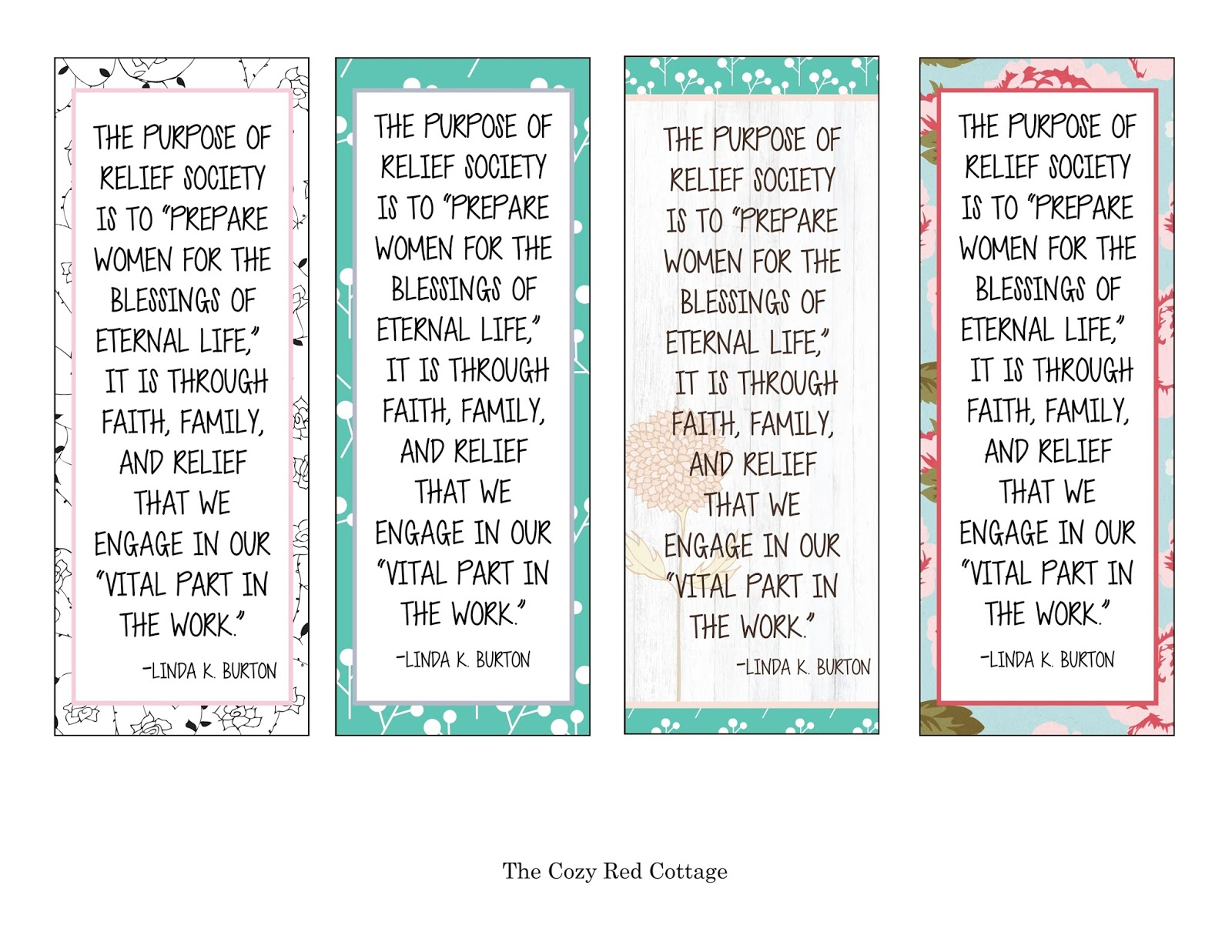 photo relating to Relief Society Declaration Printable referred to as The Comfortable Crimson Cottage: The Reason of Reduction Lifestyle Bookmark