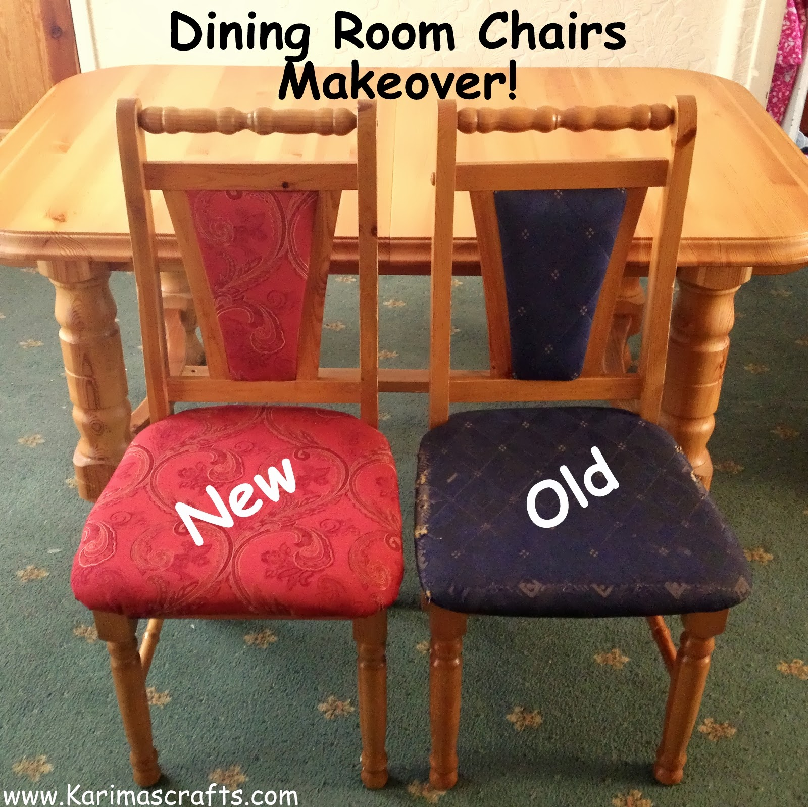 how much fabric to cover a chair cushion target round dorm karima 39s crafts reupholstered dining room chairs tutorial