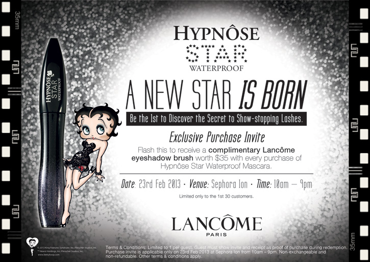 0126b4b2734 ... with a receipt as proof of purchase to receive a complimentary Lancome  eyeshadow brush worth $35 with every purchase of Hypnose Star Waterproof  mascara.