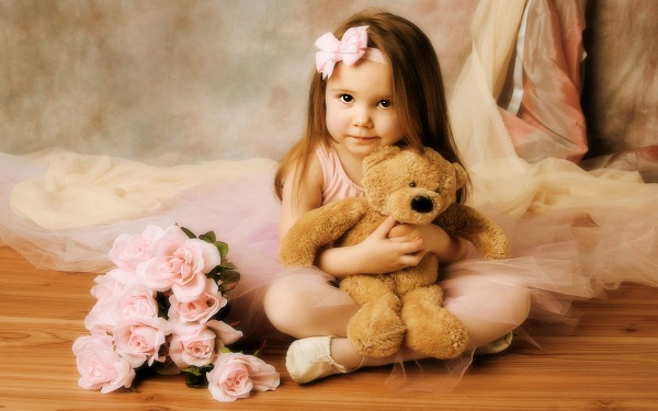 Baby Girl with Teddy Bear & Flowers
