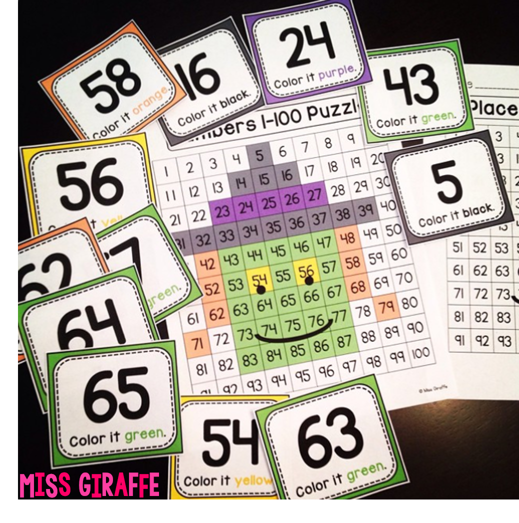 Halloween math center where kids look at the number and color it in to reveal a witch!