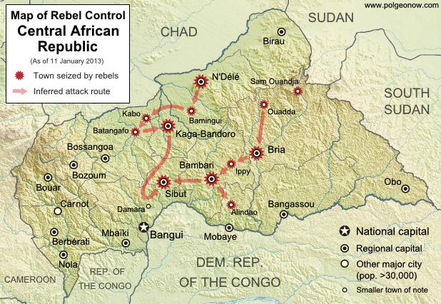 Central African Republic civil war: Map of Séléka rebel advances in December 2012