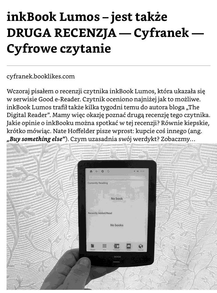 PocketBook Basic Lux 2 – fragment artykułu przesłanego na czytnik z wykorzystaniem Send-to-PocketBook i Push-to-Kindle